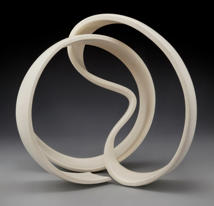 Abstract ceramic sculptures, ribbon sculptures, pure clay ...